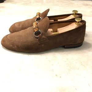 Gucci Brown Suede Loafer with Bamboo Horsebit